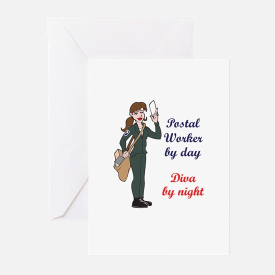 POSTAL WORKER BY DAY Greeting Cards