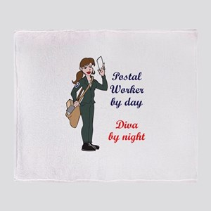 POSTAL WORKER BY DAY Throw Blanket