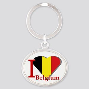 I love Belgium Oval Keychain