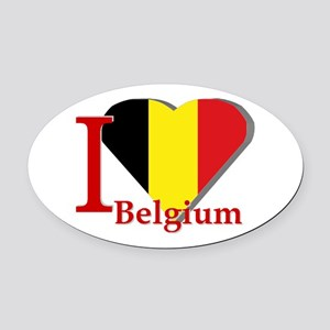 I Love Belgium Oval Car Magnet
