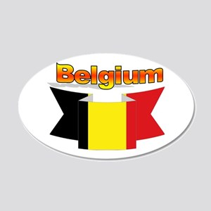 Belgian flag ribbon 20x12 Oval Wall Decal