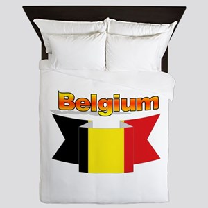 Belgian flag ribbon Queen Duvet
