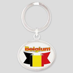 Belgian flag ribbon Oval Keychain