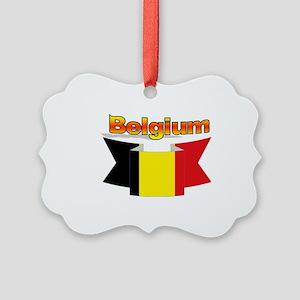Belgian flag ribbon Picture Ornament