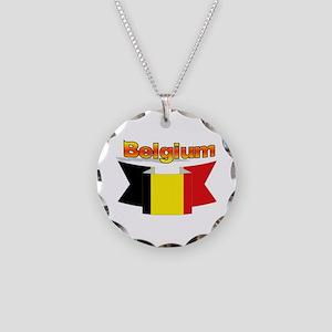 Belgian flag ribbon Necklace Circle Charm