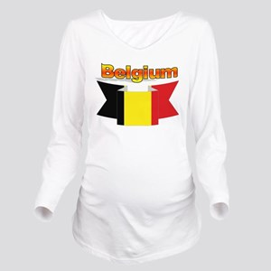 Belgian flag ribbon Long Sleeve Maternity T-Shirt