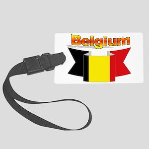 Belgian flag ribbon Large Luggage Tag