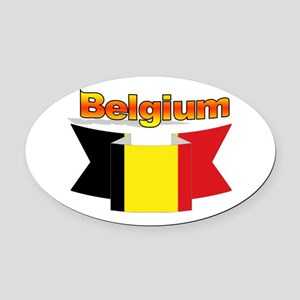 Belgian flag ribbon Oval Car Magnet