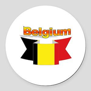 Belgian flag ribbon Round Car Magnet