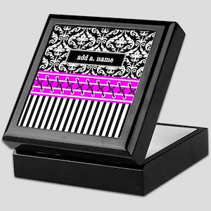 Black Fuchsia Damask Stripes Personal Keepsake Box