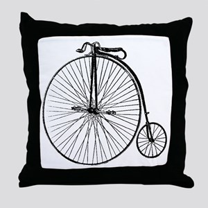 Antique Penny Farthing Bicycle Throw Pillow