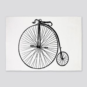 Antique Penny Farthing Bicycle 5'x7'Area Rug