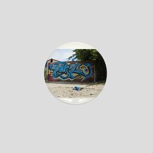 Blue Graffiti Mini Button