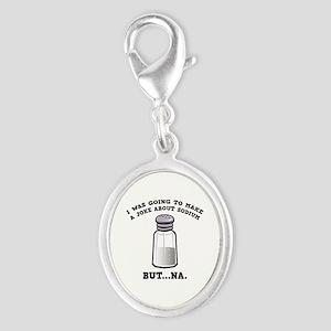 A Joke About Sodium Silver Oval Charm