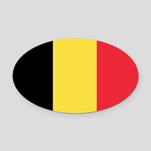 Belgian flag Oval Car Magnet