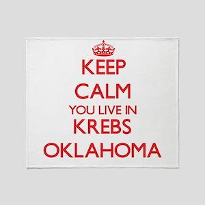Keep calm you live in Krebs Oklahoma Throw Blanket