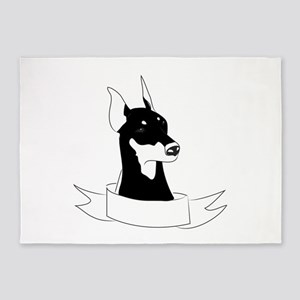 Doberman Head 5'x7'Area Rug
