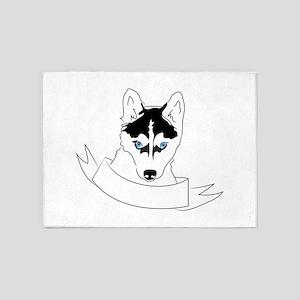 Husky Head 5'x7'Area Rug