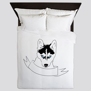 Husky Head Queen Duvet