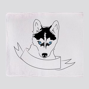 Husky Head Throw Blanket