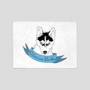Siberian Husky 5'x7'Area Rug