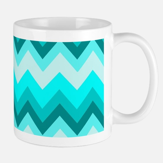 ombre teal turquoise chevron Mugs