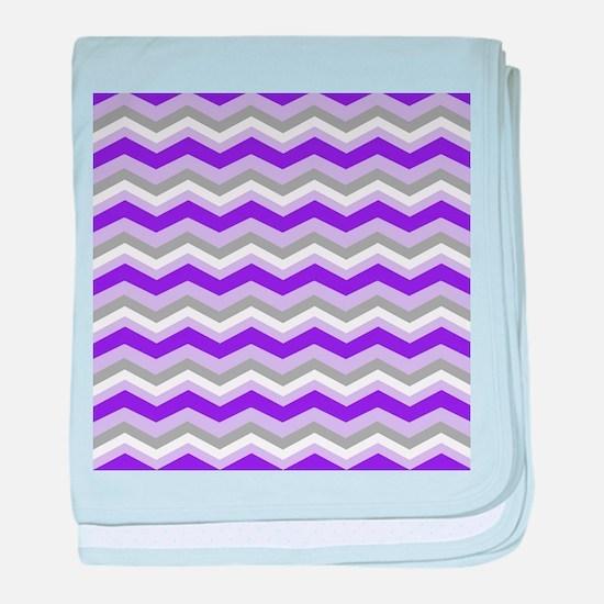 purple gray chevron baby blanket