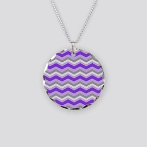purple gray chevron Necklace Circle Charm