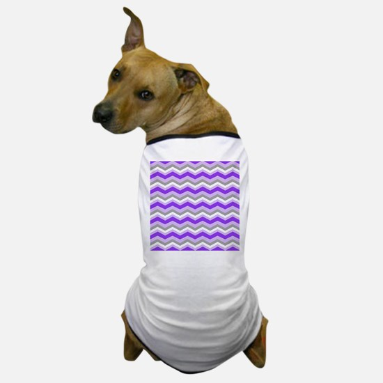 purple gray chevron Dog T-Shirt