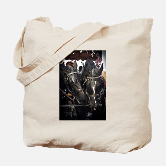 Horses with Carriage Tote Bag