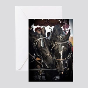 Horses with Carriage Greeting Cards