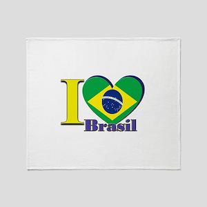 I love Brasil Throw Blanket