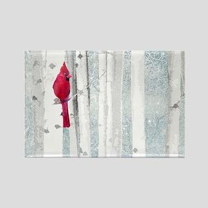 Red Cardinal Bird Snow Birch Trees Magnets