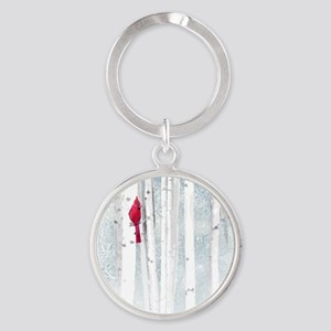 Red Cardinal Bird Snow Birch Trees Keychains