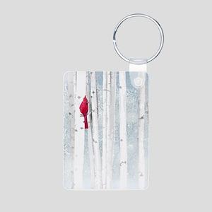 Red Cardinal Bird Snow Birch Trees Keychains