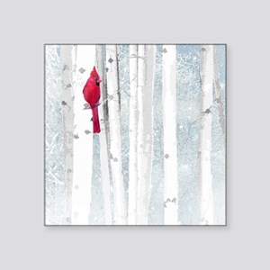 Red Cardinal Bird Snow Birch Trees Sticker