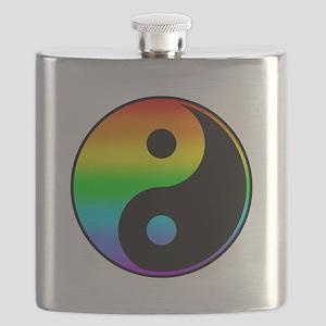 Rainbow Yin Yang Symbol Flask