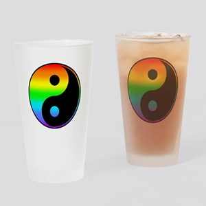 Rainbow Yin Yang Symbol Drinking Glass