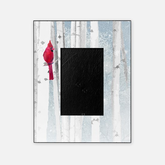 Red Cardinal Bird Snow Birch Trees Picture Frame