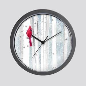 Red Cardinal Bird Snow Birch Trees Wall Clock