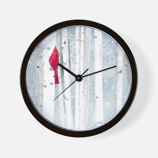 Red Cardinal Bird Snow Birch Trees Wall Clock