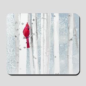 Red Cardinal Bird Snow Birch Trees Mousepad