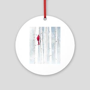 Red Cardinal Bird Snow Birch Trees Round Ornament