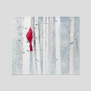 Red Cardinal Bird Snow Birch Trees Throw Blanket