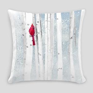 Red Cardinal Bird Snow Birch Trees Everyday Pillow