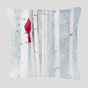 Red Cardinal Bird Snow Birch T Woven Throw Pillow