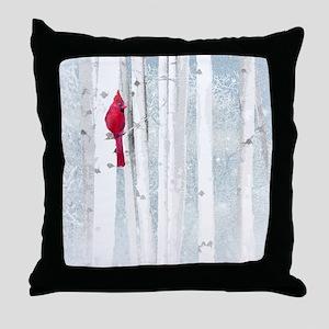 Red Cardinal Bird Snow Birch Trees Throw Pillow