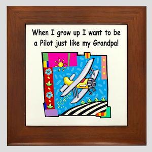 Airplane Pilot Grandpa Framed Tile