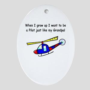 Helicopter Pilot Grandpa Oval Ornament