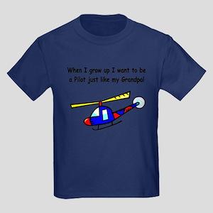 Helicopter Pilot Grandpa Kids Dark T-Shirt